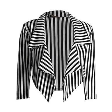 Womens Black & White Striped Waterfall Short Blazer Jacket Coat ...