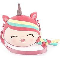 Plüsch Einhorn Umhängetasche für Mädchen, 24cm Süße Handtaschen Cartoon Taschen für Kinder Kleinkind Frauen Weiche…