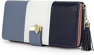 Portafoglio Donna Pelle sintetica Lungo con pendente Portamonete chiusura con cerniera (Blu)