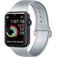AK Cinturino Compatibile per Apple Watch Cinturino 44mm 42mm 38mm 40mm, Cinturino Sport in Silicone Cinturino Uomo e Donna per iWatch Serie 5 4 3 2 1 (#Argento, 38/40mm S/M)