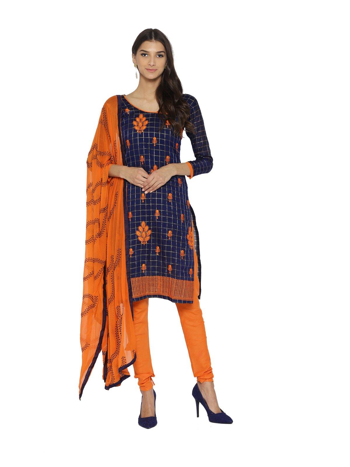 kanchnar Women's Navy Blue Chanderi SilkDress material