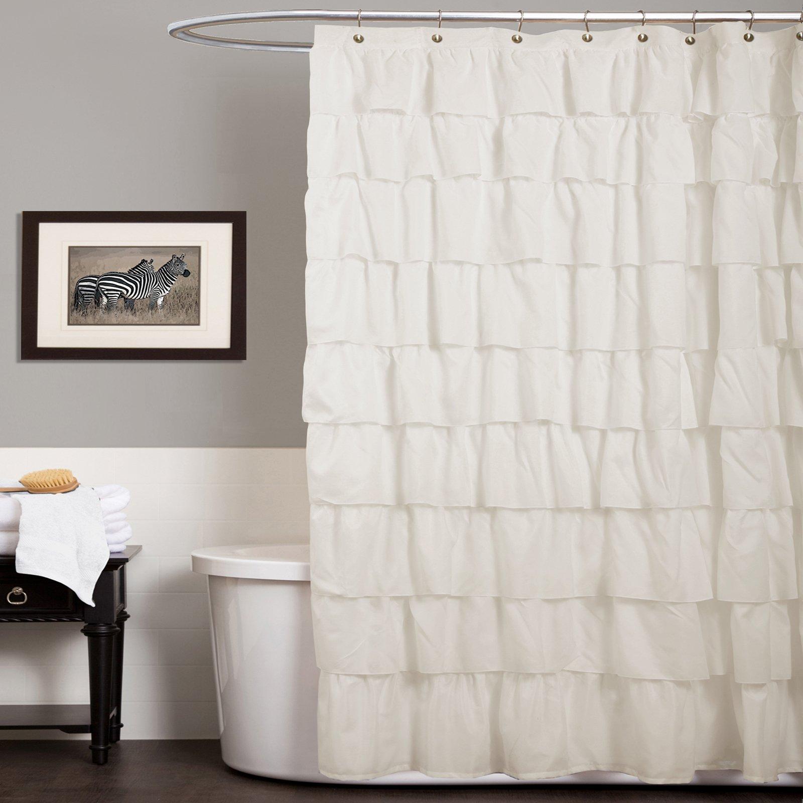 Lush Decor Ruffle Shower Curtain Ivory