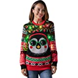 U LOOK UGLY TODAY Women's Ugly Christmas Jumper Led Light Up Funny Pullover Sweater