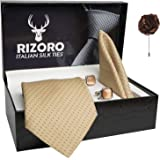 Rizoro Mens Plaid Dotted Silk Necktie Gift Set With Pocket Square Cufflinks & Brooch Pin Formal Tie With Leatherite Box (D1RX