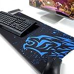 Exco, tappetino da gaming, spesso, XL, superficie liscia, antiscivolo, in gomma, tappetino per mouse progettato per...