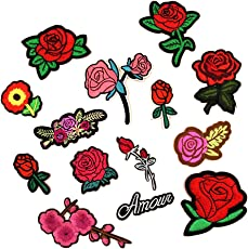 MagiDeal 14 Pieces Red Rose Flower Patch Embroidered Iron On Applique Patches for Clothes Bag Hat Dress DIY