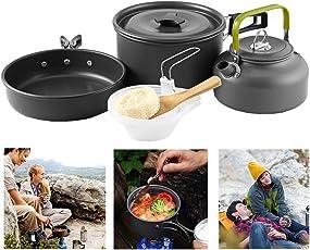 Buycitky Camping Kochgeschirr,10-Teiliges Camping Kochset Abnehmbare Topfset,Outdoor Koch Geschirr,Camping Zubehör,Klappgriffe,Antihaftbeschichtet,für Outdoor Picknick Camping Kochen