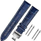 MN-BAND MUEN Cinturini di Ricambio Vera Pelle Cinturino Barre Rapido Rilascio Fibbia Pieghevole Nero Marrone 18mm 20mm 22mm 2