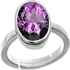 Accurate Traders Natural Amethyst Gemstone Silver Adjustable Ring 4 Ratti (3.6 carats) Stone Origional and Certified by GEMOLOGICAL LABORATORY OF INDIA (GLI) Katela Precious Stone Chandi Free Size Anguthi Unheated and Untreated Top Quality Gems for Astrological Purpose by Accurate Traders