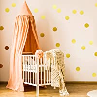 Outus 200 Pieces Wall Decal Dots Posh Dots Easy to Peel and Stick Removable Metallic Vinyl Polka Dot Decor, Round Circle Wall Decal Stickers for Festive Baby Nursery Room (Gold)