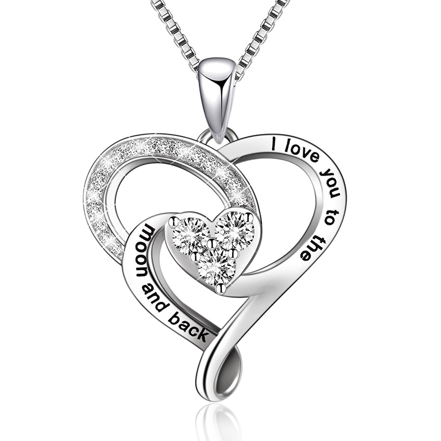 BGTY 925 Sterling Silver Jewelry I Love You To The Moon and Back Love Heart Pendant Necklace
