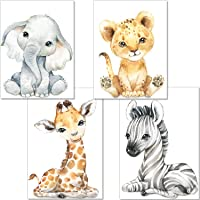 artpin® Set of 4 Pictures for Children's Room Decorative Boy Girl DIN A4 Poster Baby Jungle Animals Safari Africa Wall Pictures Elephant Tiger Giraffe Zebra P60