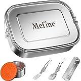 1400ml Lunch Box, Mefine Boîtes bento Box (20 x 6 x 15cm) en Acier Inoxydable Fourchette et Cuillère et Pots à épices