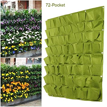 Vertical Wall Garden Planter 72 Pocket Planting Flower Greening Bag Hanging  Pouch Outdoor Indoor Yard 1x1M Green: Amazon.co.uk: Kitchen U0026 Home
