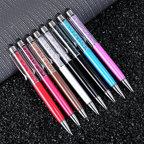 SODIAL 5 PZ colore casuale penna di cristallo penna a sfera diamante moda creativa penna stilo touch regali novita' forniture per ufficio scuola