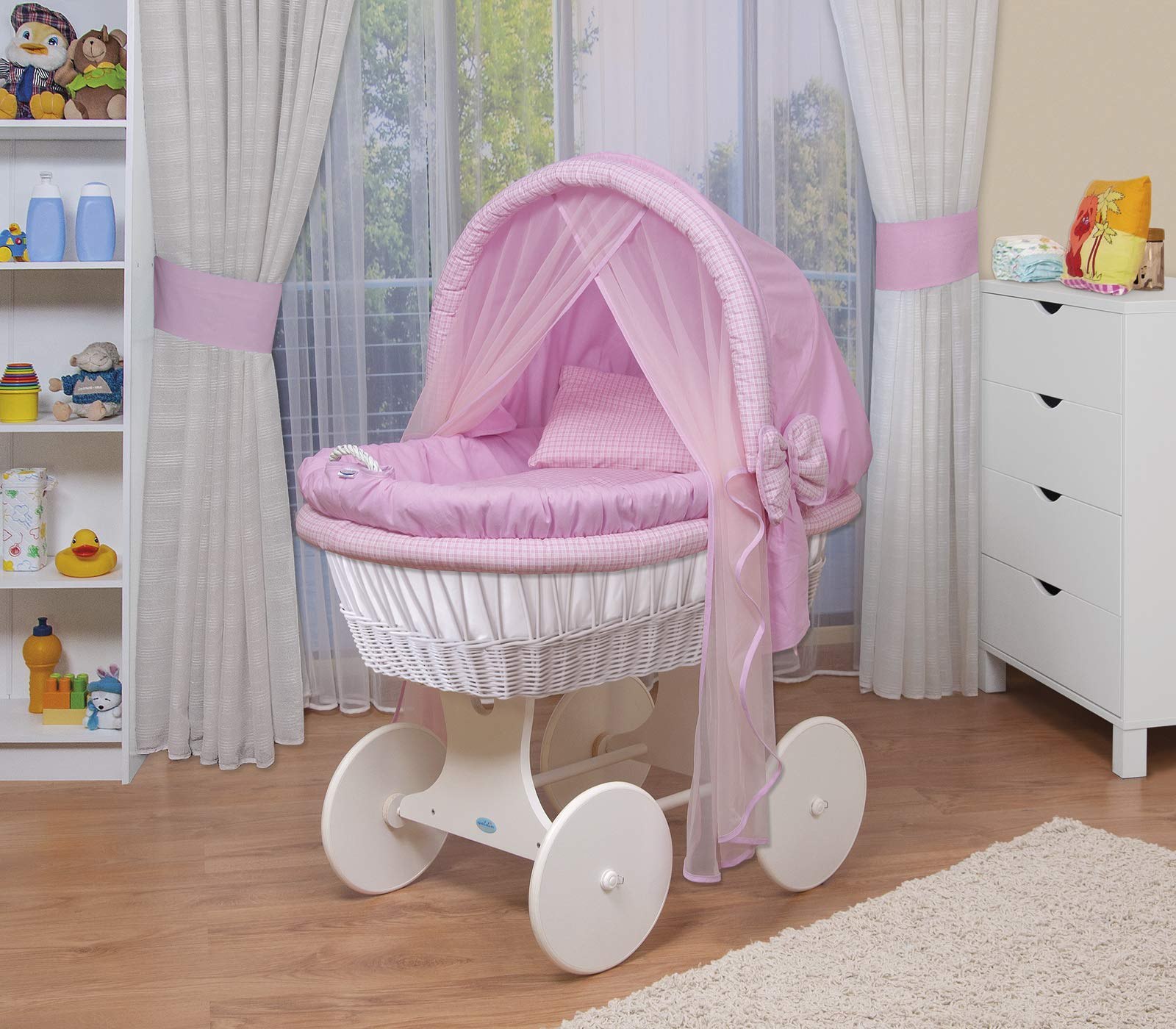 WALDIN Baby wicker cradle,Moses basket,44 models available,white painted stand/wheels,textile colour pink/squared WALDIN For more models and colours on Amazon click on WALDIN under the title Bassinet complete with bedding and stand Certified to safety standard EN 1130-1/2 1