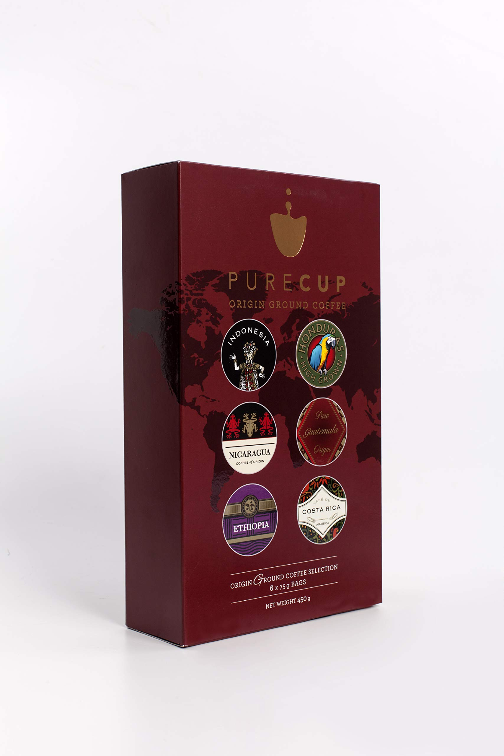 PureCup – Origin Ground Coffee Gift Set – 6 Origins | 75g Each