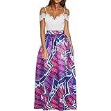 CLOCOLOR Falda Larga Plisada Encaje con Estampado Exótico Africano Para Mujer Talla Grande Casual Cintura Alta Falda