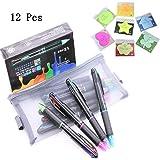 12er Pack Multicolor Pen Retractable 0.7mm 4 Farbtinte (schwarz, blau, rot, grün) in einer Kugelschreiber für glatte Schrift - von AEKAN