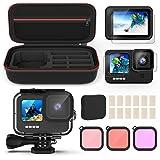 Kupton Kit de Accesorios para GoPro Hero 9, Incluye Carcasa Impermeable + Protector de Pantalla de Vidrio Templado + Funda pa
