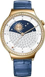 Huawei Lady Gioiello Swarovski Smartwatch, Cinturino in Pelle, Quadrante Acciaio, Blu/Oro