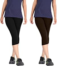 Premium Cotton Strechable Women's Casual/Gym/Sports 3/4th Capri (Free Size) Combo Pack of 2