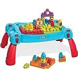 Mega Bloks La Table d'Apprentissage bleue avec briques de construction et 2 véhicules, 30 pièces, jouet pour bébé et enfant de 1 à 5 ans, FGV05