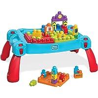 Mega Bloks La Table d'Apprentissage bleue avec blocs de construction et 2 véhicules, 30 pièces, jouet pour bébé et…