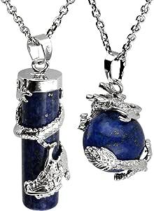 JOVIVI - Set regalo comprensivo di collane, con ciondoli in cristallo prezioso di forma sferica e cilindrica, con decorazione avvolgente a forma di dragone, con cofanetto regalo incluso