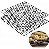 TheStriven Rechthoekig Cake Koelrek Set van 2 Bakdraad Rack Koelrek Bakken Rack RVS Grill Stoomrek voor Roosteren, Bakken, Gr