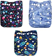 OSOCozee Cloth Diapers for Babies/Baby Diapers with Bamboo Charcoal Diaper Inserts Set of Three Plus Three Extra Insert (Total Six Inserts) (Star Jeans Rocket)