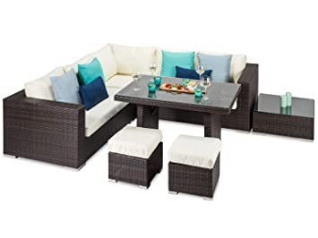 tuscany rattan casual corner sofa and dining table garden furniture set fully assembled brown