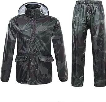 Freiesoldaten Uomo/Donna Giacca Impermeabile/Pantaloni Tuta Antivento Cappotto/Pantaloni Set Moto Impermeabile con Cappuccio a Scomparsa