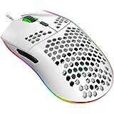 Jiacai Mouse da Gioco Programmabile 96G con Guscio a Nido d'Ape Leggero,Sensore Laser a 6400 DPI, RGB Rainbow Retroilluminato