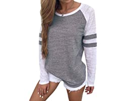 SUNNYME Long Sleeve Tops for Women Baseball Tops Women Casual Baggy Short Sleeve Tee Shirts Summer T Shirts for Ladies