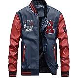 Men's Classic Spring Autumn Winter PU Leather Varsity College Baseball Jacket Baseball Flight Bomber Coat
