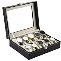 INDYBLISS 10 Slot Watch Storage Box Leather Box Jewelry Storage Organizer Storag Case for Men & Women.