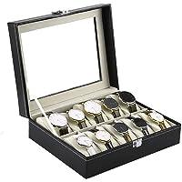 GETKO WITH DEVICE 10 Slot Watch Storage Box Leather Box Jewelry Storage Organizer Storag Case for Men & Women