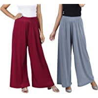 Buy That Trendz M to 6XL Cotton Viscose Loose Fit Flared Wide Leg Palazzo Pants for Women Maroon Grey