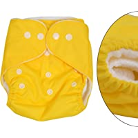 Baby Grow Washable Cloth Diaper Pocket Plain Adjustable Nappy Reusable Cloth Diapers 0-2 Years 3-15 kg (Yellow)