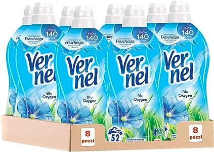 Vernel Blu Oxygen Ammorbidente Concentrato Profumato per Lavatrice, 8 x 52 Lavaggi