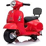 Mondial Toys Moto ELETTRICA per Bambini Mini Vespa GTS Piaggio 6V con Schienale Sedile in Pelle LUCI Suoni Rosso