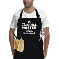 The Grill Master -BBQ Funny Aprons for Men -Cooking Kitchen Grilling Apron with 2 Pockets -Dad Gifts, Husband Gifts…