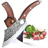Ausbeinmesser Hackmesser Küchenmesser mit Lederhülle Handgeschmiedete Kochmesser Fleischbeil Kohlenstoffstahl Metzgermesser O