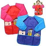 BelleStyle barn konst smockar, barn vattentätt förkläde med lång ärm och 3 fickor för konst, hantverk, klassrum, matlagning,
