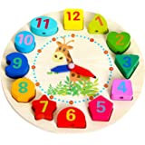 wishkey wooden learning clock with bead lace , educational digital analog numbers, shape & color learning montessori toy for