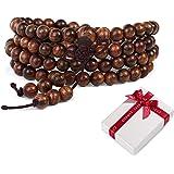 108 perline di legno perline di preghiera buddismo 6mm braccialetto per di meditazione yoga,buddista elastico marrone tibetan