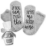 Süße Luxus Wein Socken! If You can read this bring me some wine - Lustige Cupcake Socken Geschenk für Frauen - Für…