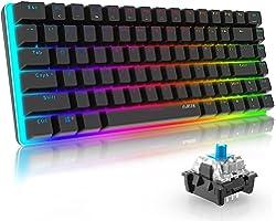 AJAZZ AK33 Tastiera Gaming Meccanica, 82 Tasti, 100% Anti-ghosting Switches Blu, Retroilluminazione RGB con 16.8 milioni Tast