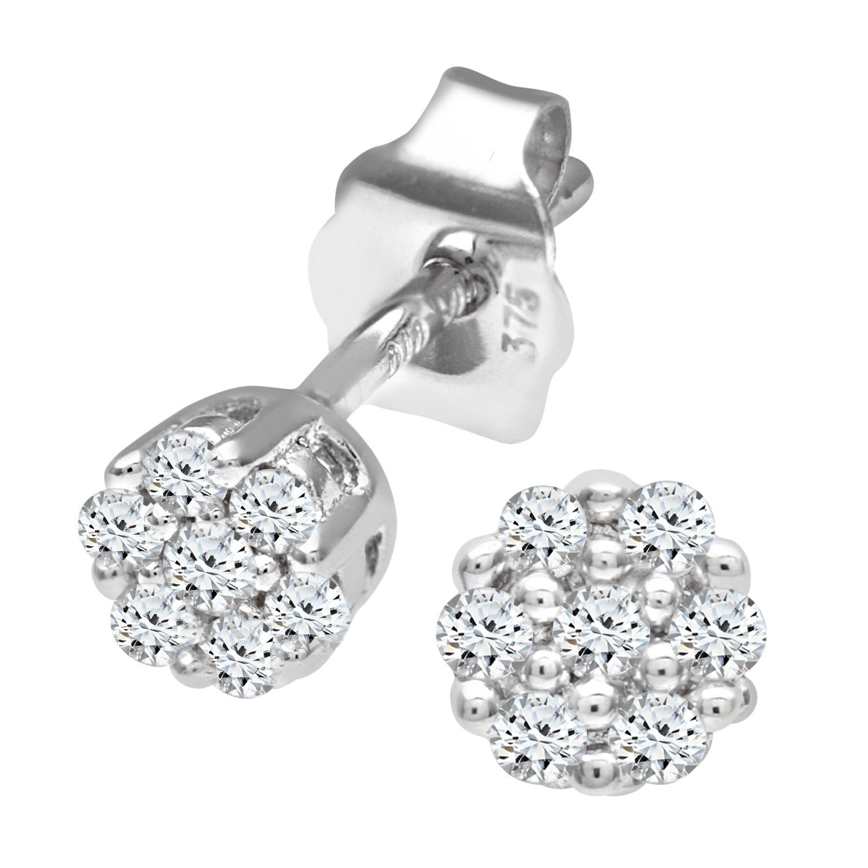 Naava 0.07 ct Diamond Earrings in 9 ct White Gold